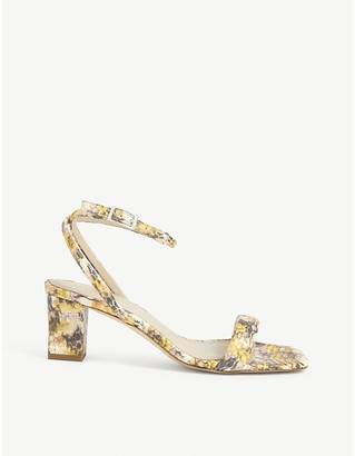 Sandro Snake-embossed leather strappy sandals
