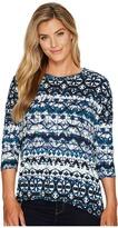 Tribal 3/4 Sleeve Scoop Neck Printed Suede Knit Top Women's Long Sleeve Pullover