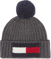 Tommy Hilfiger Grey Knitted Stylish Flag Bobble Wool-cotton Beanie