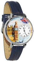 Whimsical Watches Women's U1420002 Unisex Silver England Navy Blue Leather And Silvertone Watch