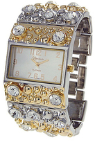 Geneva Platinum Two-Tone Crystal Rectangle-Link Watch