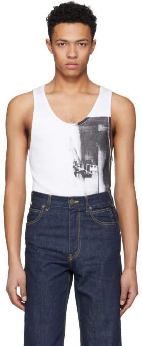 Calvin Klein White Printed Tank Top