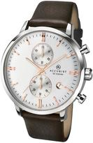 Accurist Accurist Silver Tone Date Dial Brown Leather Strap Mens Watch
