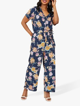 Yumi Floral Print Jumpsuit, Navy