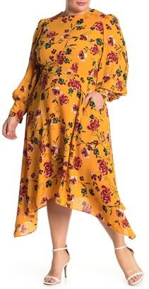 Donna Morgan Floral Print Asymmetrical Midi Dress (Plus Size)
