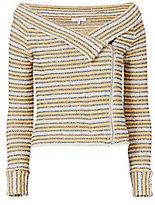 IRO Vana Striped Off-The-Shoulder Knit Jacket