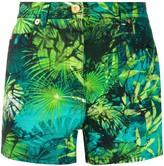 Versace jungle print denim shorts