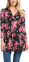 Magic Fit Black & Hot Pink Floral Long-Sleeve Surplice Tunic