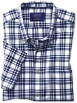 Charles Tyrwhitt Slim Fit Poplin Short Sleeve Navy Check Cotton Dress Shirt Size Large