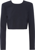 DKNY Cropped pinstriped stretch wool-blend top