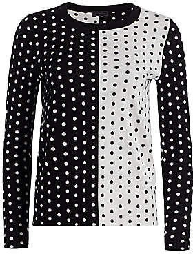 Saks Fifth Avenue Women's Collection Silk Cashmere Polka Dot Jacquard Crew Sweater
