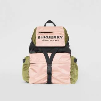 Burberry Logo Print Tri-Tone Nylon Backpack