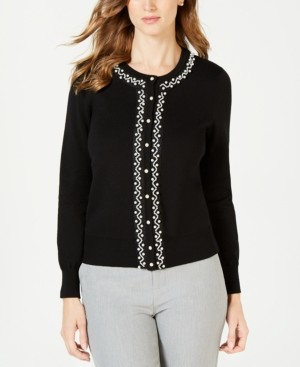 Charter Club Faux Pearl Trim Cardigan, Created for Macy's