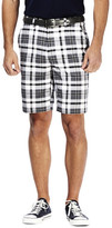 Haggar Cool 18 Exploded Plaid Short - Classic Fit, Flat Front, Expandable Waistband
