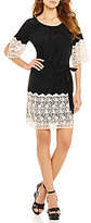 Gianni Bini Fan Fav Nancy Crochet Border Short Sleeve Dress
