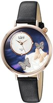 Burgi Women's Rose-Tone Case with Genuine Diamond Accented Butterfly Design Mother-of-Pearl Dial on Black Leather Strap Watch BUR158BKR