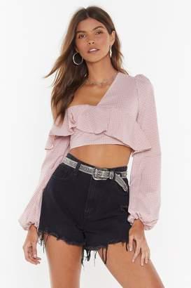 Nasty Gal Womens Ruffle Long Sleeve Crop Top - pink - 10