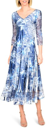 Komarov Floral Print Charmeuse Tea Length Dress