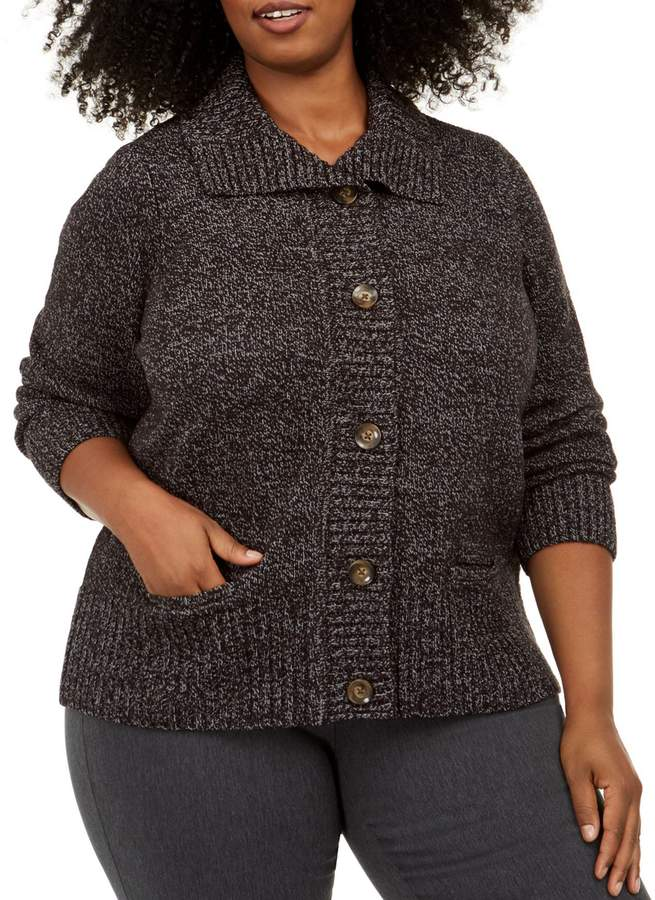 Karen Scott Plus Textured Button-Front Cardigan