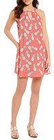 Jadelynn Brooke Summer In Seaside Peek-A-Boo Paradise Pineapple Print Shift Dress