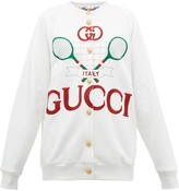 Gucci Logo-embroidered Reversible Cardigan - Womens - Ivory