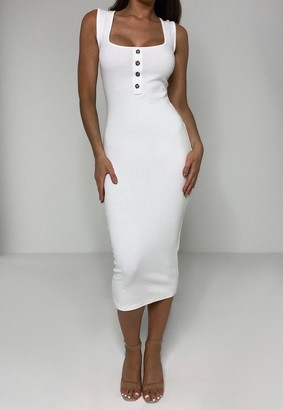 Missguided White Rib Tortoiseshell Button Midaxi Dress
