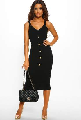 Pink Boutique Something Sexy Black Button Front Bodycon Midi Dress