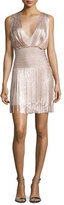 Herve Leger Sleeveless Draped Fringe Dress, Gold