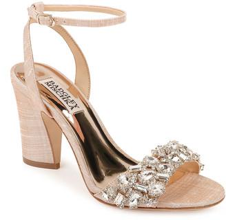 Badgley Mischka Jill Shantung Block-Heel Sandals