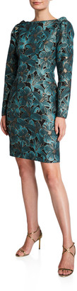 Zac Posen Floral Jacquard High-Neck Ruffle-Shoulder Long-Sleeve Dress