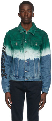 Off-White Blue and Green Denim Degrade Pivot Jacket