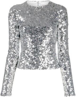 A.W.A.K.E. Mode Sequin-Embellished Long-Sleeved Blouse