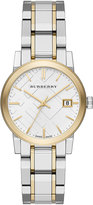 Burberry 34mm The City Two-Tone Bracelet Watch, Yellow Gold/Silver