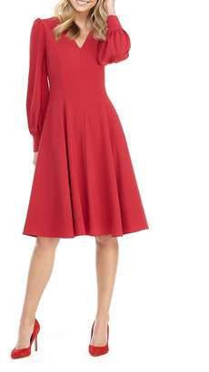 Gal Meets Glam V-Neck Blouson-Sleeve Fit-&-Flare Dress