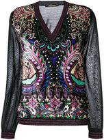 Roberto Cavalli v-neck jumper - women - Silk/Polyester/Viscose/Virgin Wool - 42