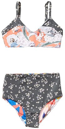 Maaji Kids Bouquet Gift Reversible Bikini Set Swimsuit (Toddler/Little Kids/Big Kids) (Coral Reef Orange Floral) Girl's Swimwear Sets