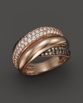 Bloomingdale's Brown and White Diamond Crossover Ring in 14K Rose Gold