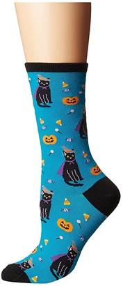 Socksmith Witch Cat (Aquamarine) Women's Crew Cut Socks Shoes