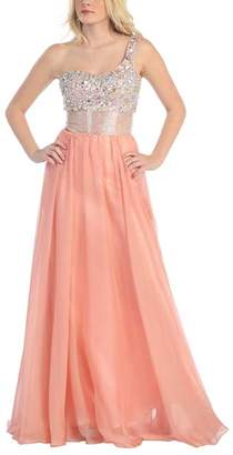 Mayqueen MayQueen Women's Special Occasion Dresses Dusty - Dusty Rose Sparkle One-Shoulder Gown - Women
