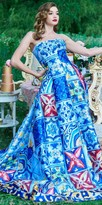Mac Duggal Strapless Multicolor Print A-line Ball Gown