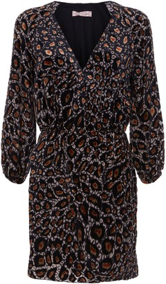 Traffic People Tess Mini Wrap Dress In Gold Leopard Print