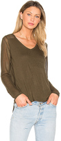 John & Jenn by Line Chandler V Neck Sweater in Olive. - size S (also in XS)