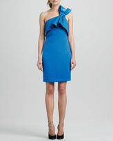 Halston One Shoulder Dress With Bow