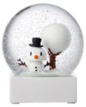 Hoptimist - White Glass Snowman Snow Globe - glass | white - White/White