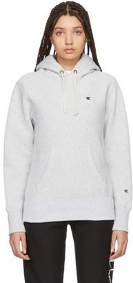 Champion Reverse Weave Grey Logo Hoodie