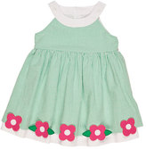 Florence Eiseman Sleeveless Smocked Gingham Seersucker Dress, Green, Size 2-6X