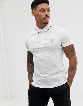 Armani Exchange slim fit tipped logo polo in white