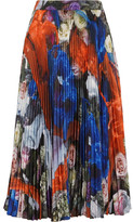 Christopher Kane Printed Plissé-crepe Skirt - Royal blue
