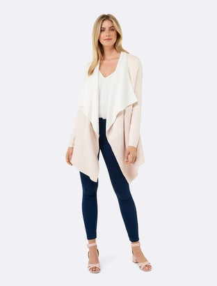 Forever New Kate Ribbed Hem Fallaway Cardigan - Oatmeal - m