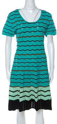 M Missoni Green Chevron Patterned Perforated Knit Short Sleeve Dress L